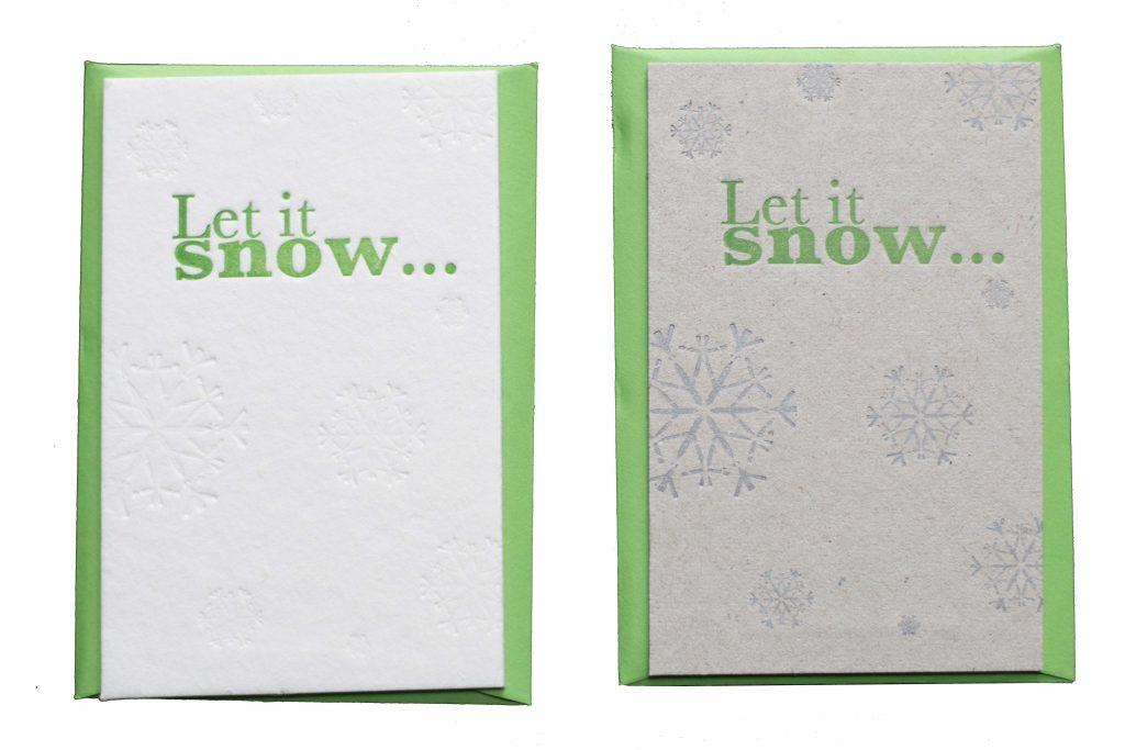 Let is snow- kerstkaart- bijzonder- letterpress-
