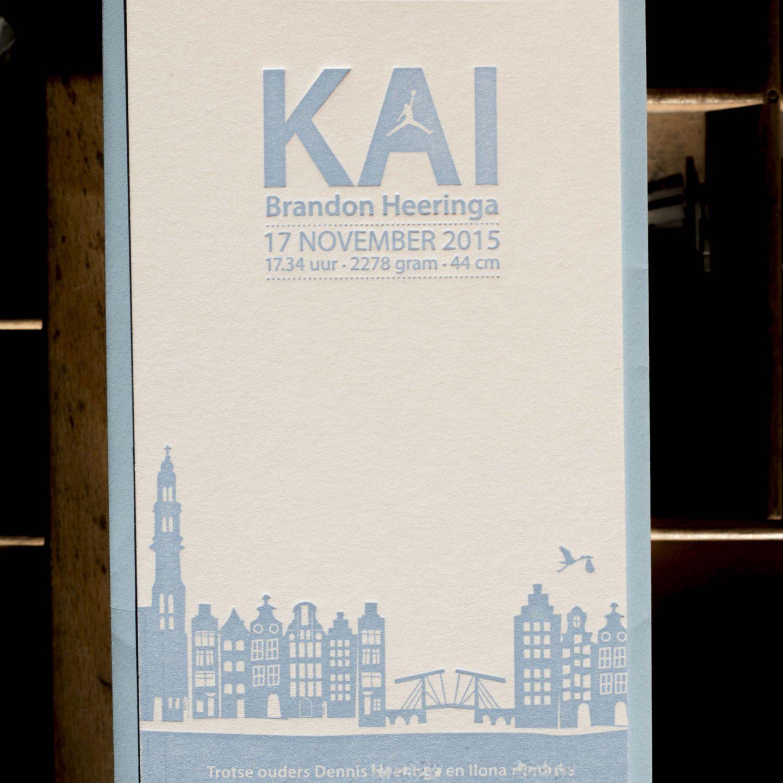 Geboortekaartje Skyline Amsterdam | staand| Kai