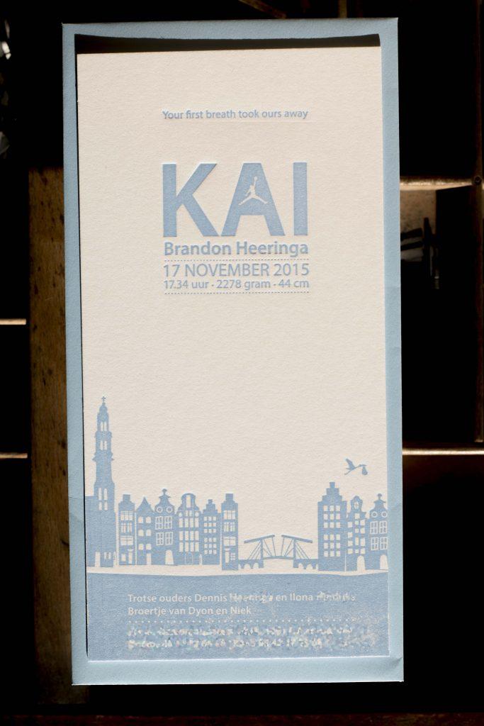 geboortekaartje letterpress Skyline A msterdam Kai. magere brug, grachtebpanden