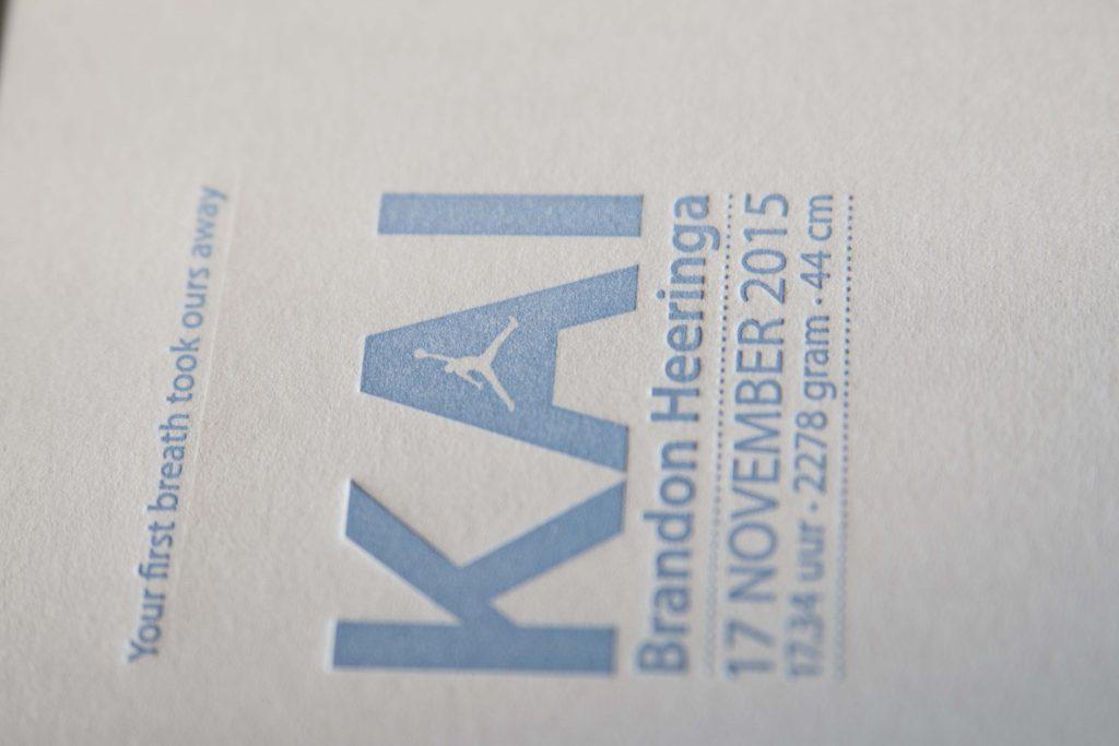 Geboortekaartje letterpress Skyline Amsterdam
