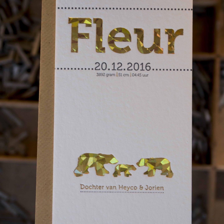 Geboortekaartje folie goud | letterpress | Fleur