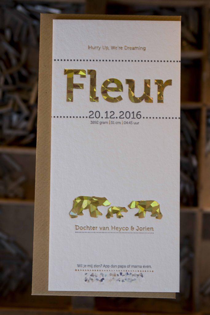 geboortekaartje letterpress winterse sferen foliedruk Fleur. beren.