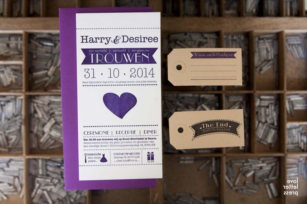 trouwkaart letterpress wij gaan trouwen paars