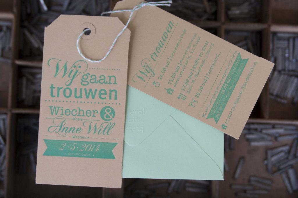 Letterpress trouwlabels kraft