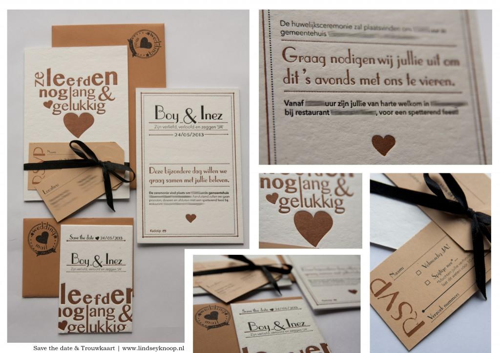 trouwkaart letterpress vintage bruiloft, ze leefden nog lang en gelukkig