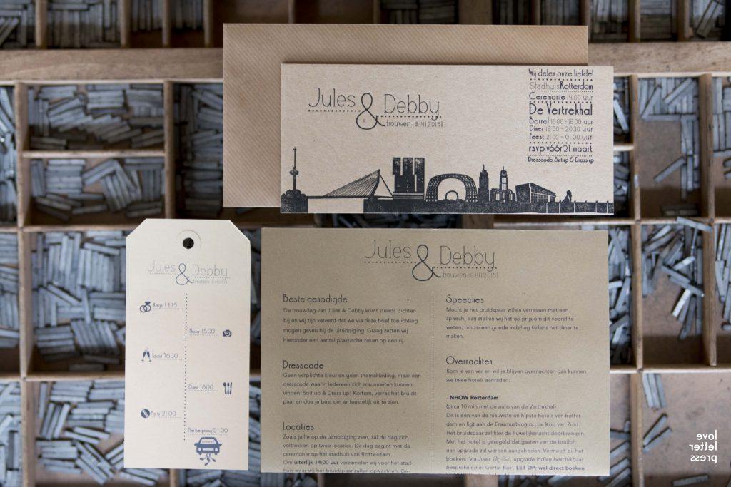 trouwkaart letterpress skyline Rotterdam en de Vertrekhal