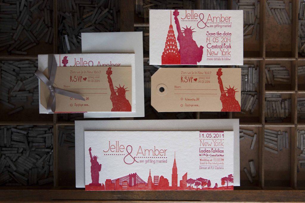 trouwkaart letterpress skyline New York