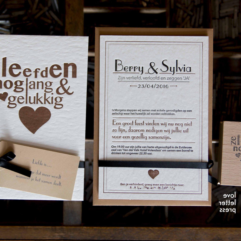 Unieke trouwkaart letterpress   Ze leefden nog lang en gelukkig #3
