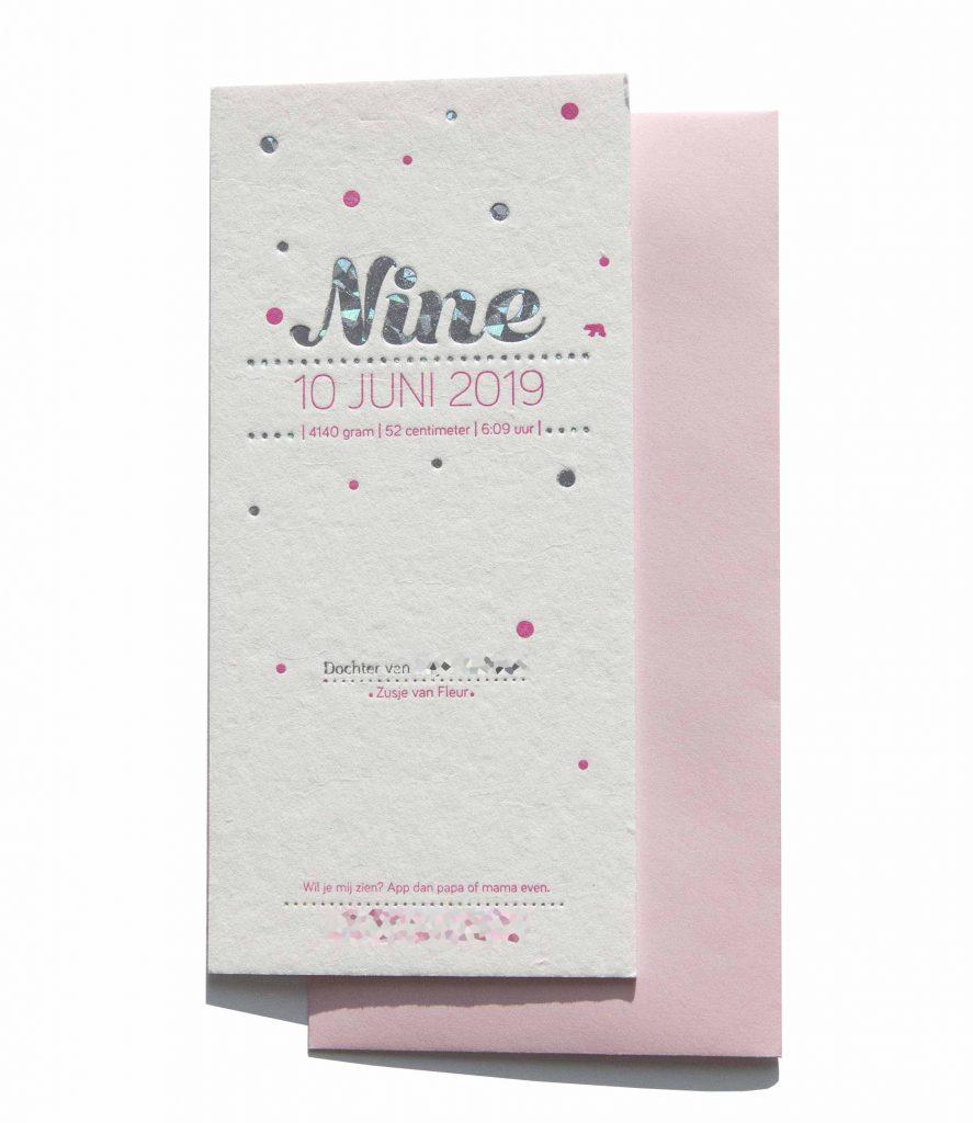 geboortekaartje letterpress folie zilver Nine