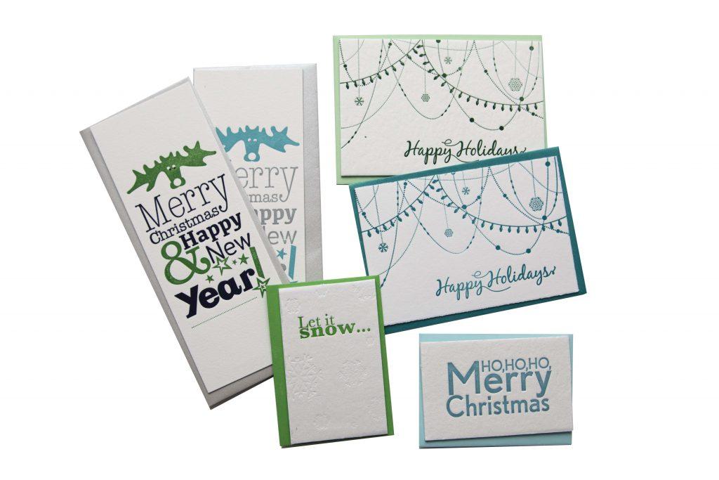 kerstkaarten-set_letterpress_groenblauw_MerryChristmas_HappyNewYear_LoveLetterpress.