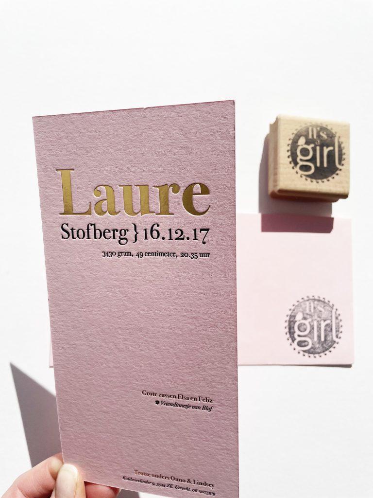 Goud folie geboortekaartje letterpress meisje