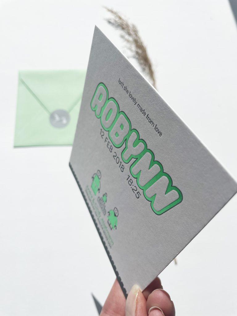 folie geboortekaartje lego groen