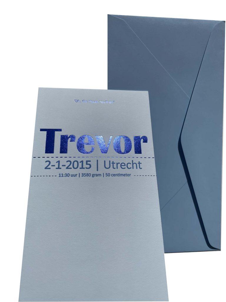 Folie druk blauw, geboortekaartje, jongen in letterpress