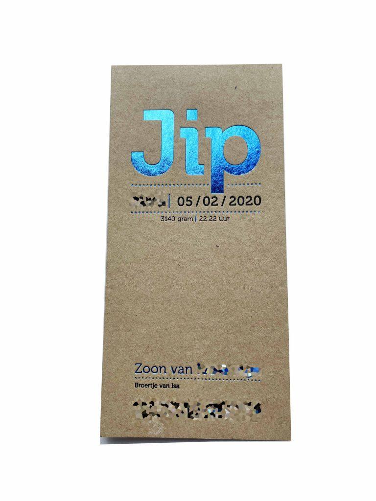 geboortekaartje jip letterpress foliedruk blauw kraft papier goedkoop